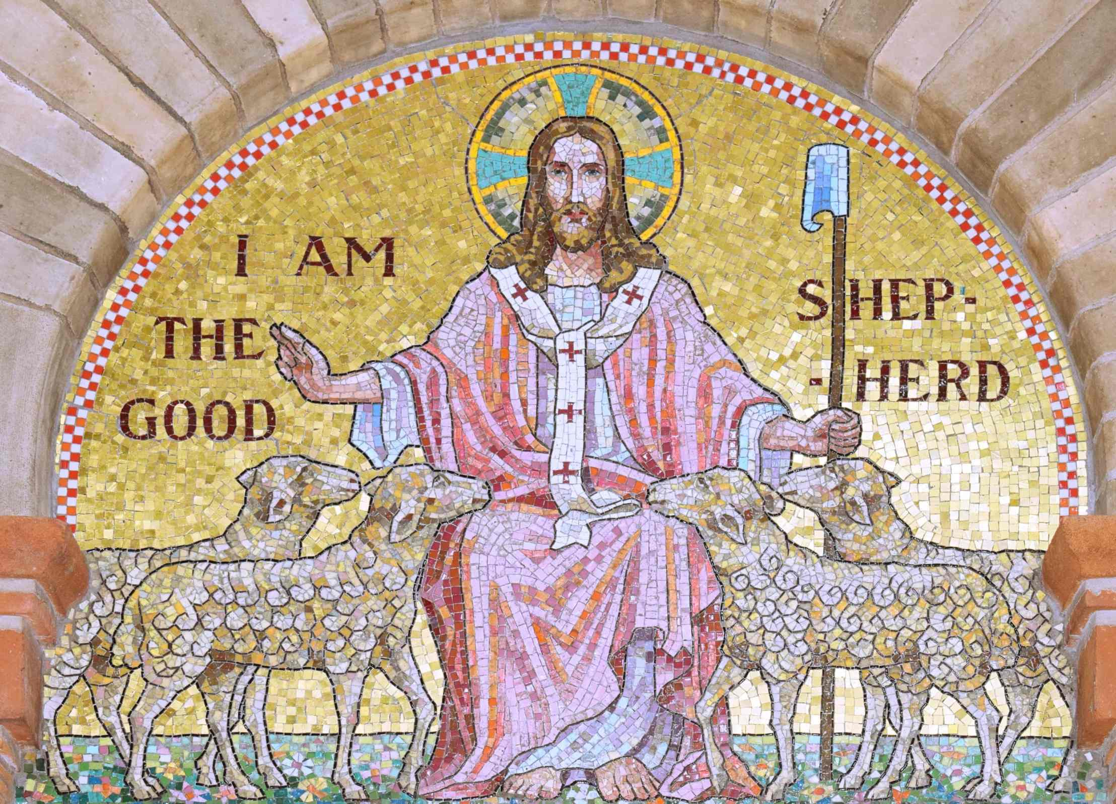 Mosaic of the Good Shepherd in Sacred Heart and St Margaret Mary, Aston