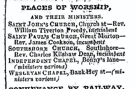 Excerpt from page 25 of Slaters Directory for Lancashire, 1848