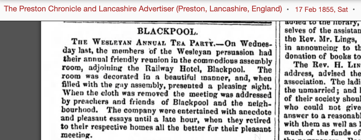 Newspaper report about the Wesleyan annual tea party