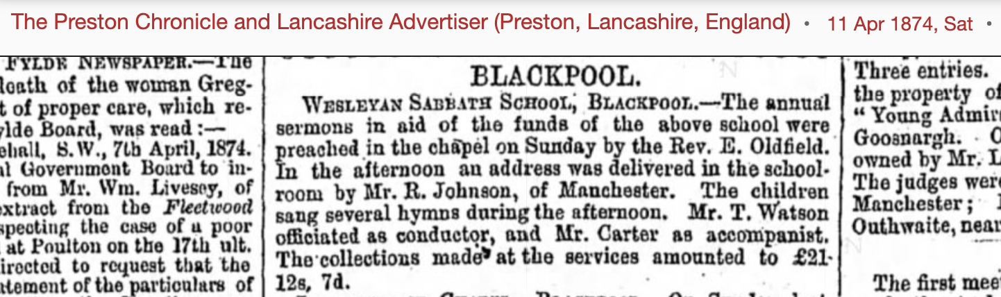 1874 newspaper cutting about annual sunday school sermons