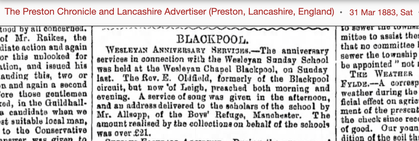 1883 newspaper cutting about anniversary services