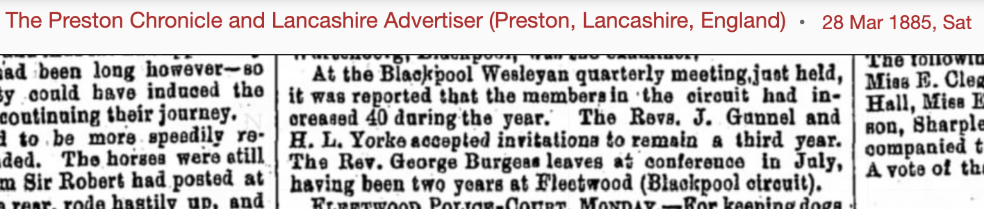 1885 newspaper cutting about a Wesleyan quarterly meeting