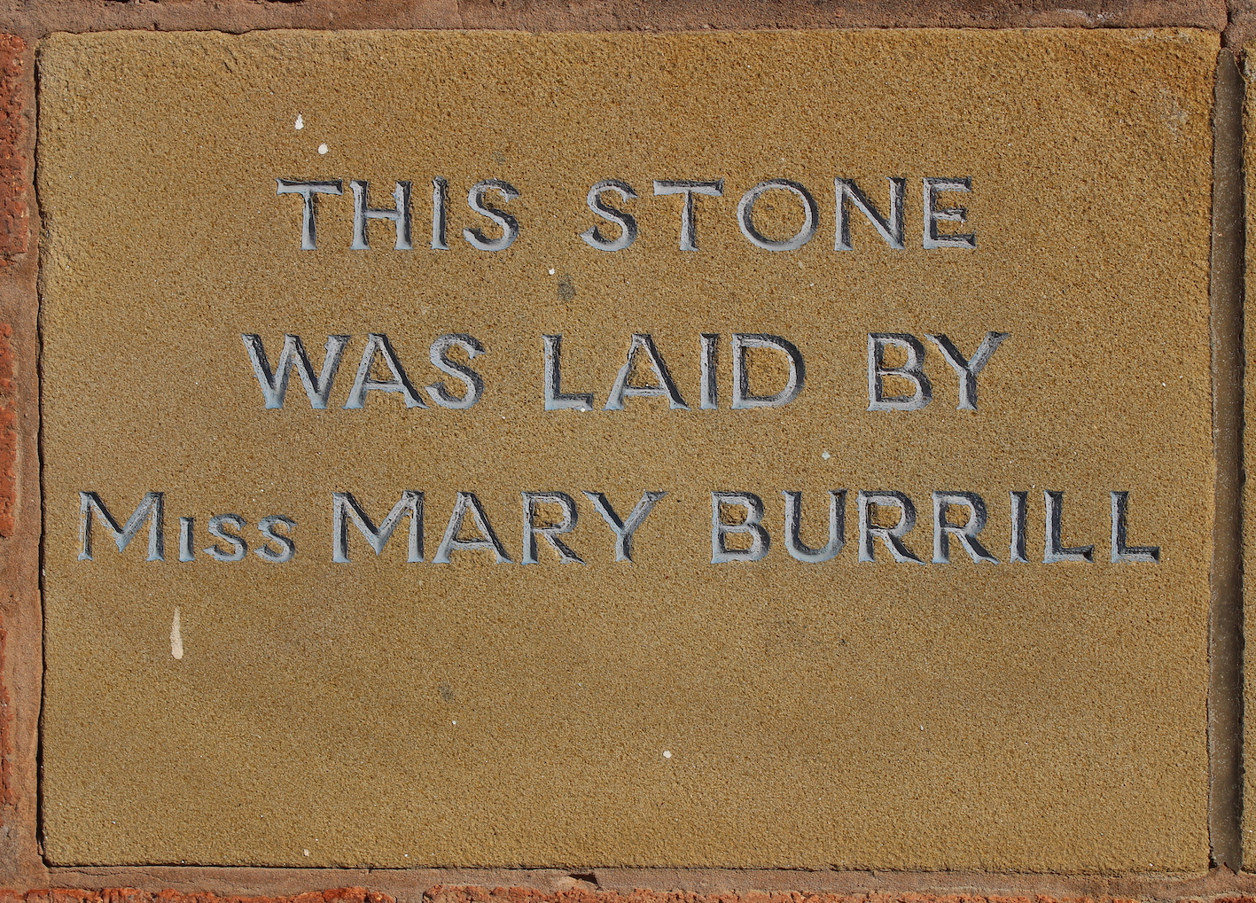 Memorial stone laid by Miss Mary Burrill
