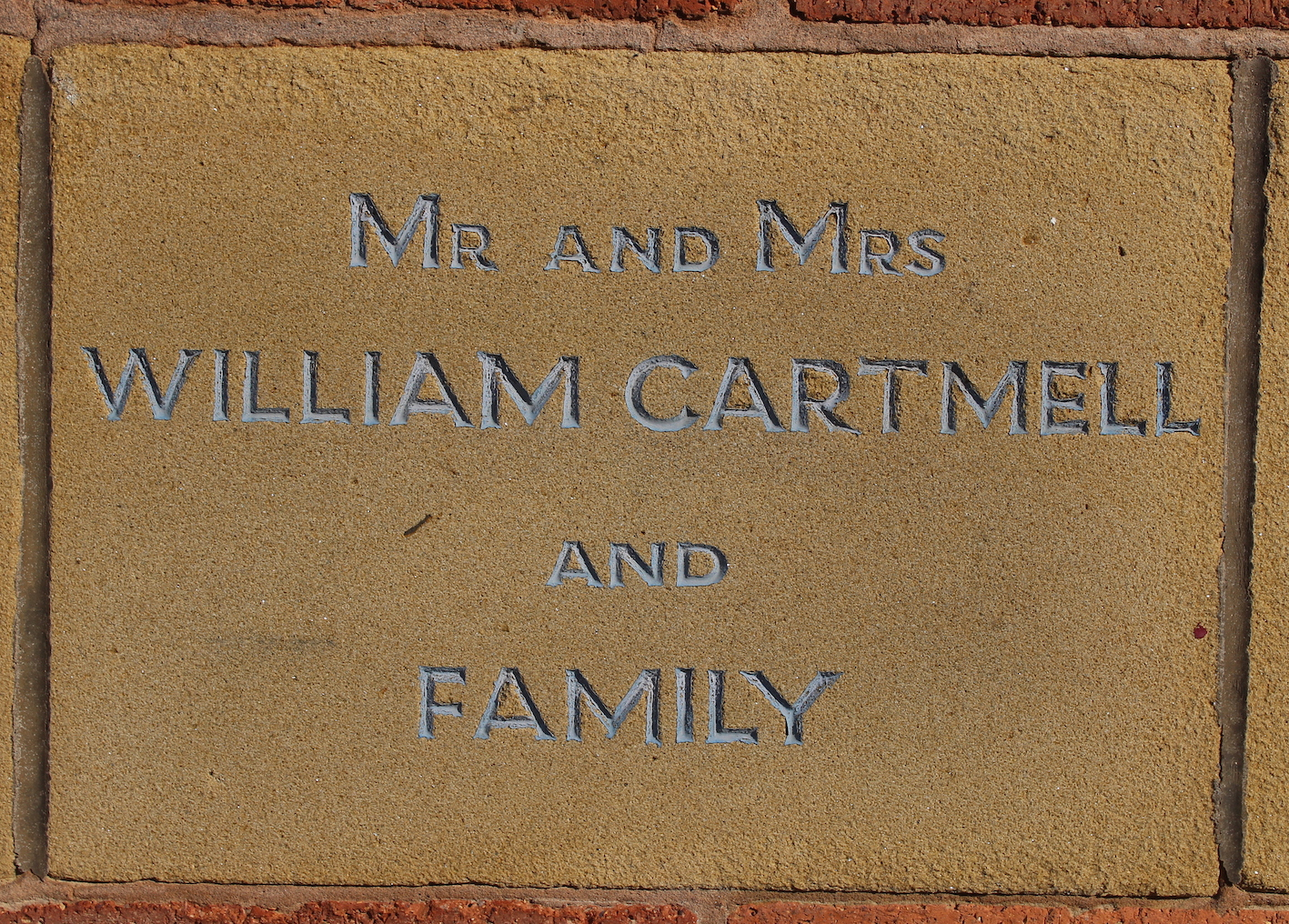 Memorial stone for Mr and Mrs William Cartmell