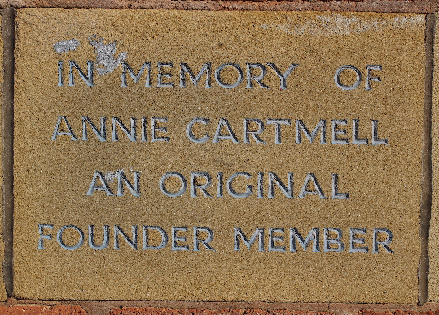 Memorial stone for Annie Cartmell