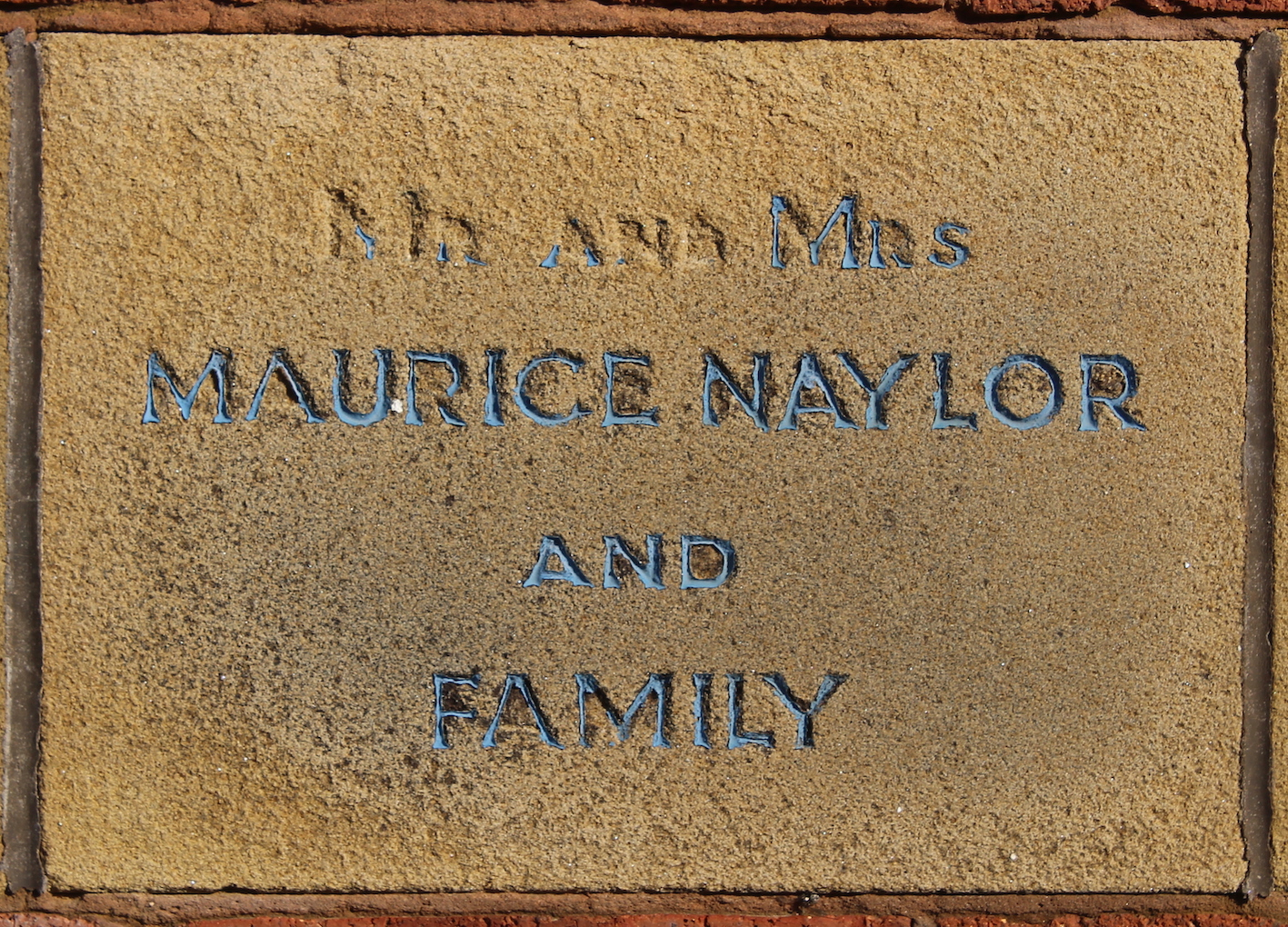 Memorial stone for Mr and Mrs Maurice Naylor