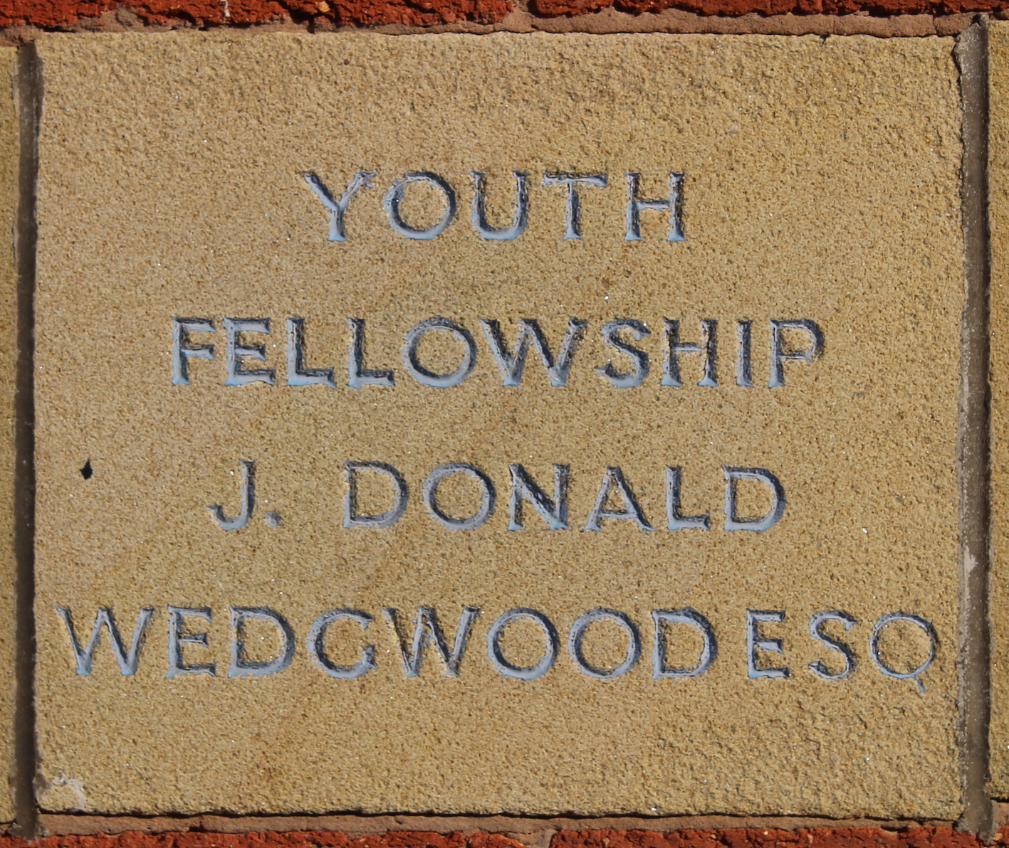 Memorial stone laid by J Donald Wedgewood