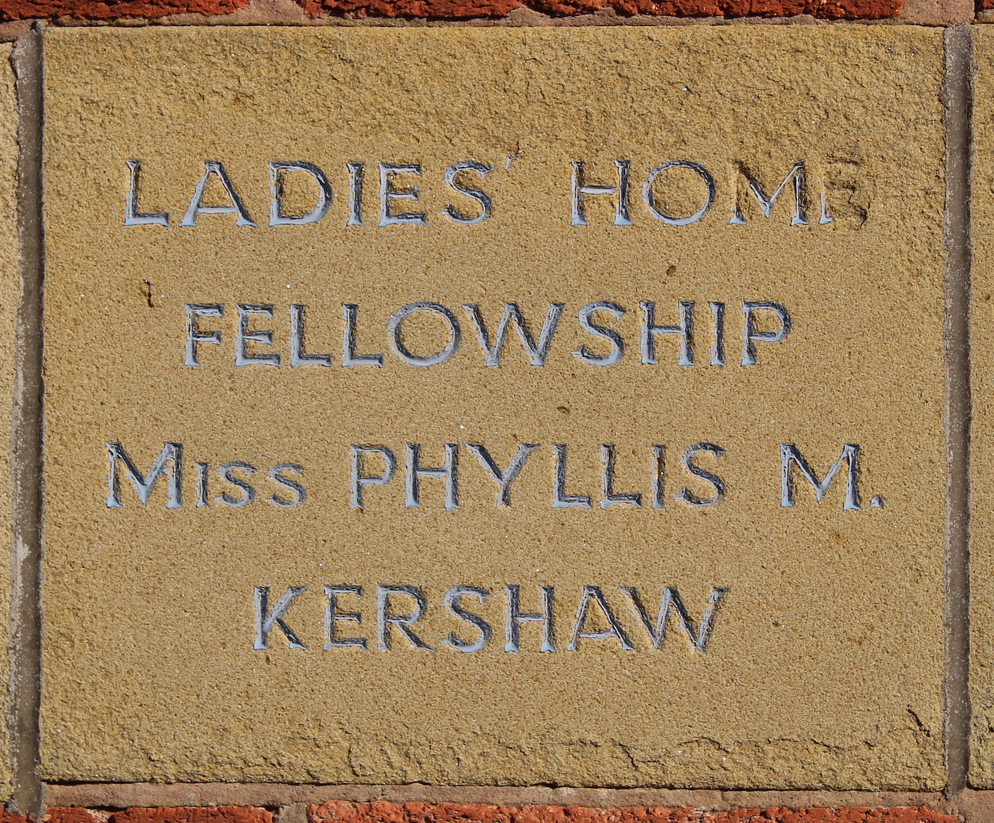 Memorial stone laid by Miss Phyllis M Kershaw
