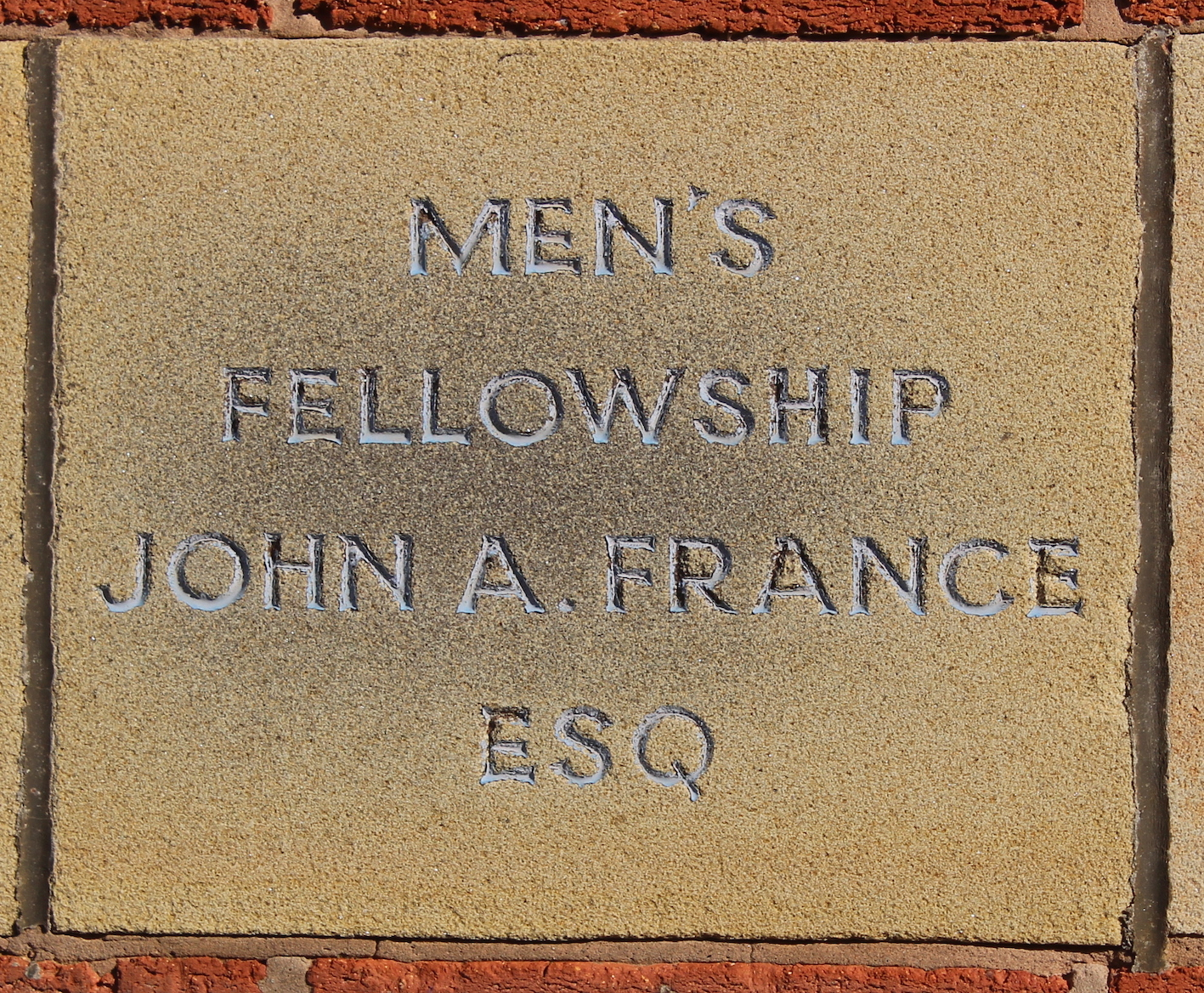 Memorial stone laid by John A France