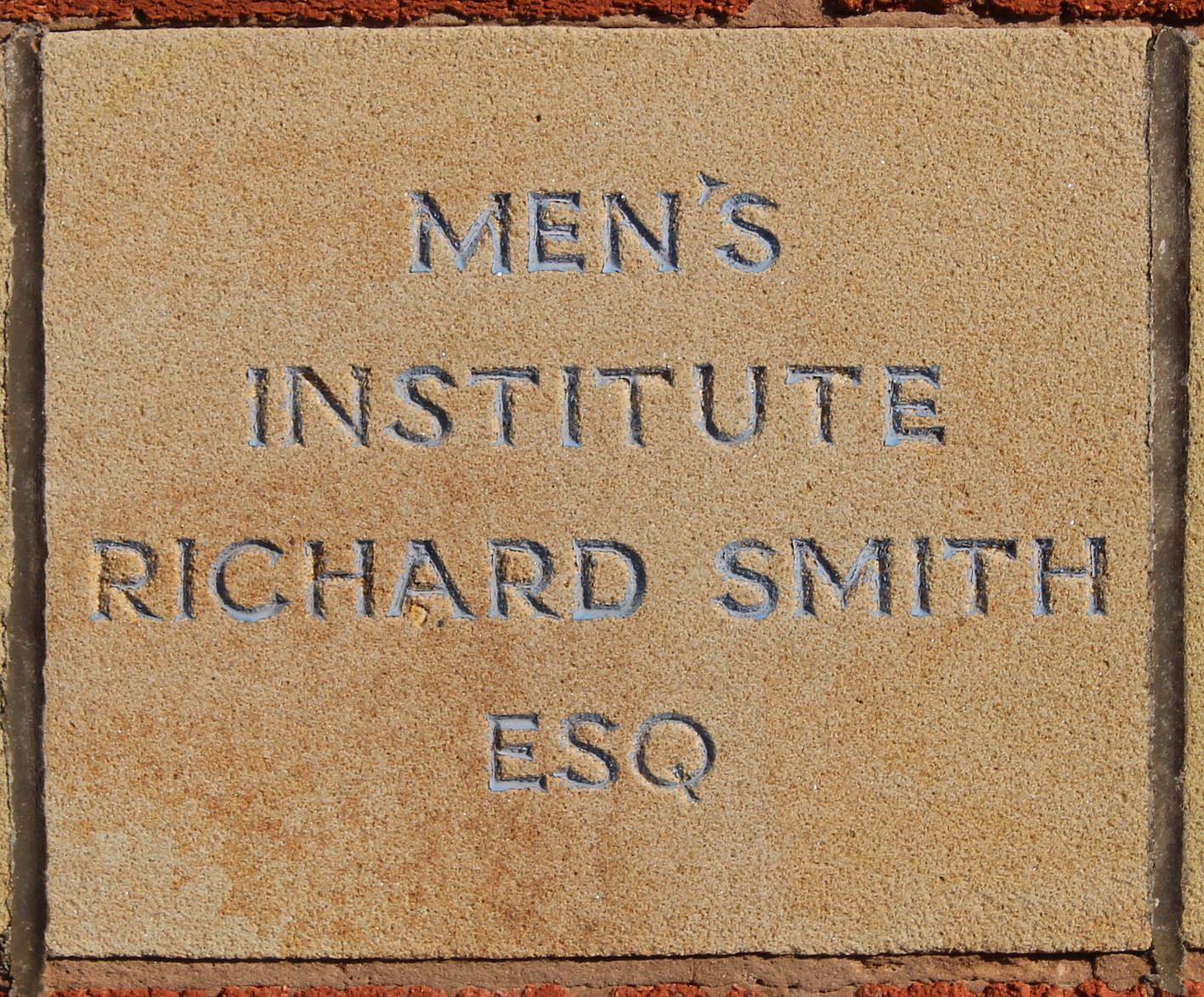 Memorial stone laid by Richard Smith