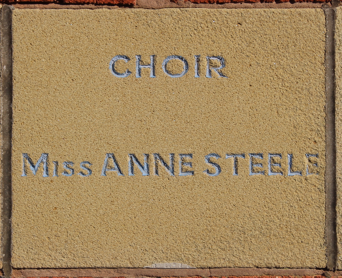 Memorial stone laid by Miss Annie Steele
