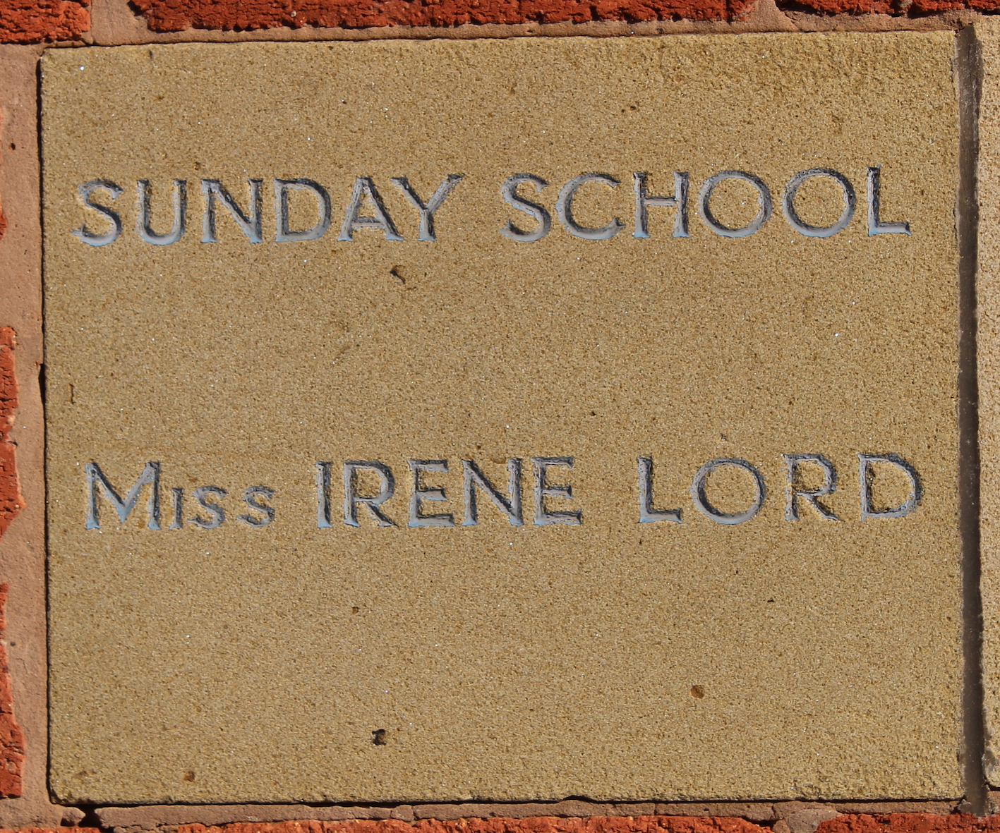 Memorial stone laid by Miss Irene Lord