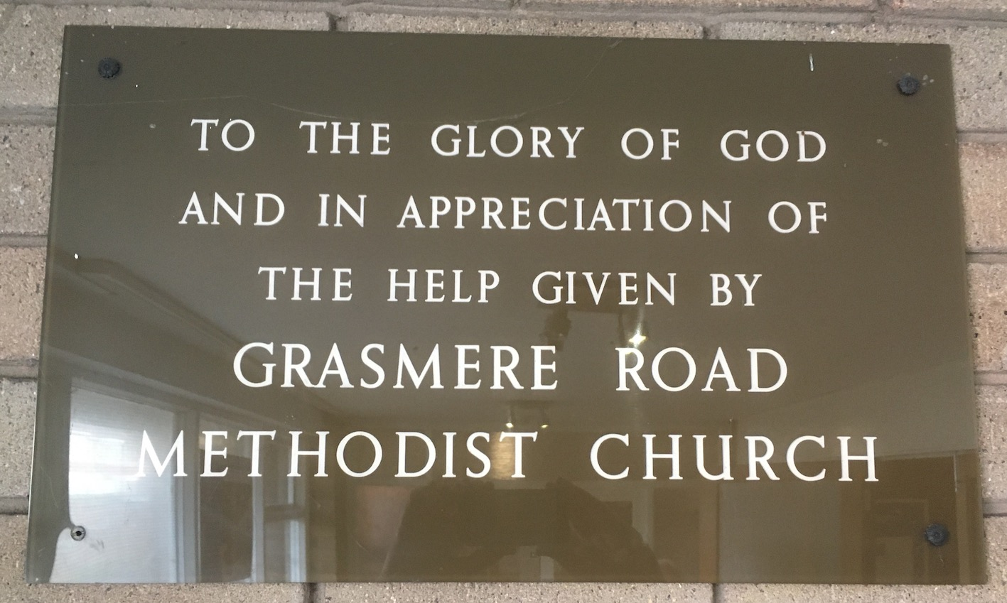 Plaque inside Lindale Methodist Church in appreciation of Grasmere Methodist Church