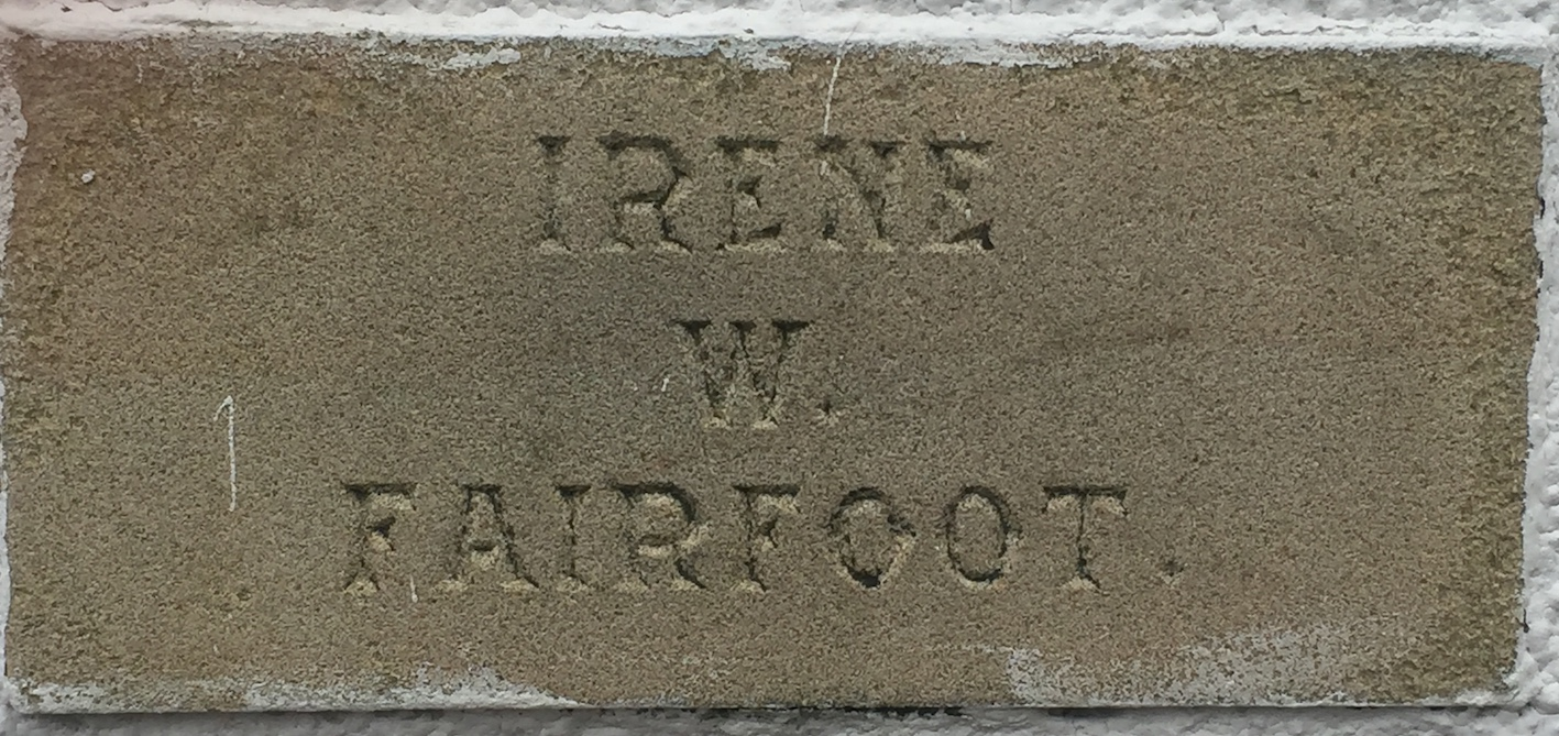 Memorial stone on Lindale Methodist Church Hall for Irene W Fairfoot