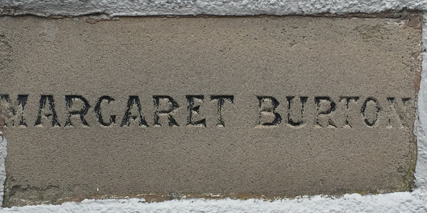 Memorial stone on Lindale Methodist Church Hall for Margaret Burton