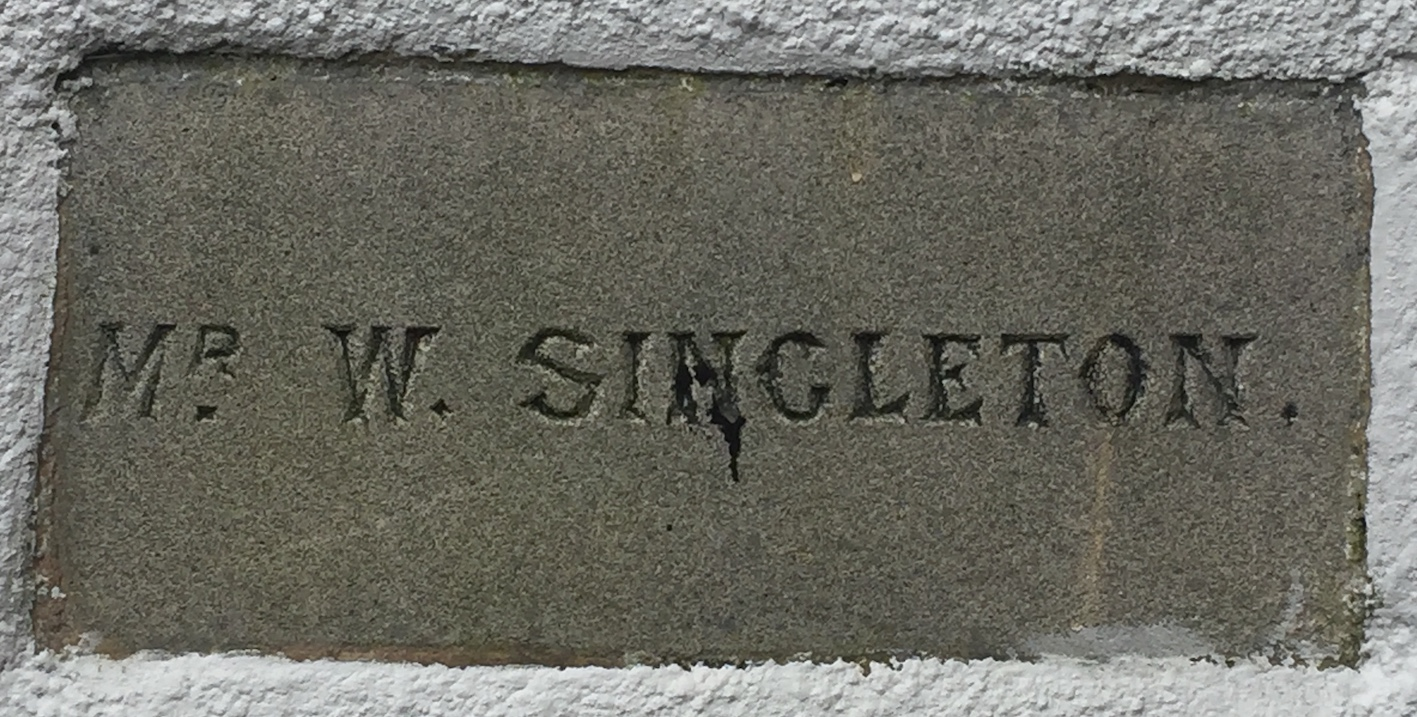 Memorial stone on Lindale Methodist Church Hall for Mr W Singleton