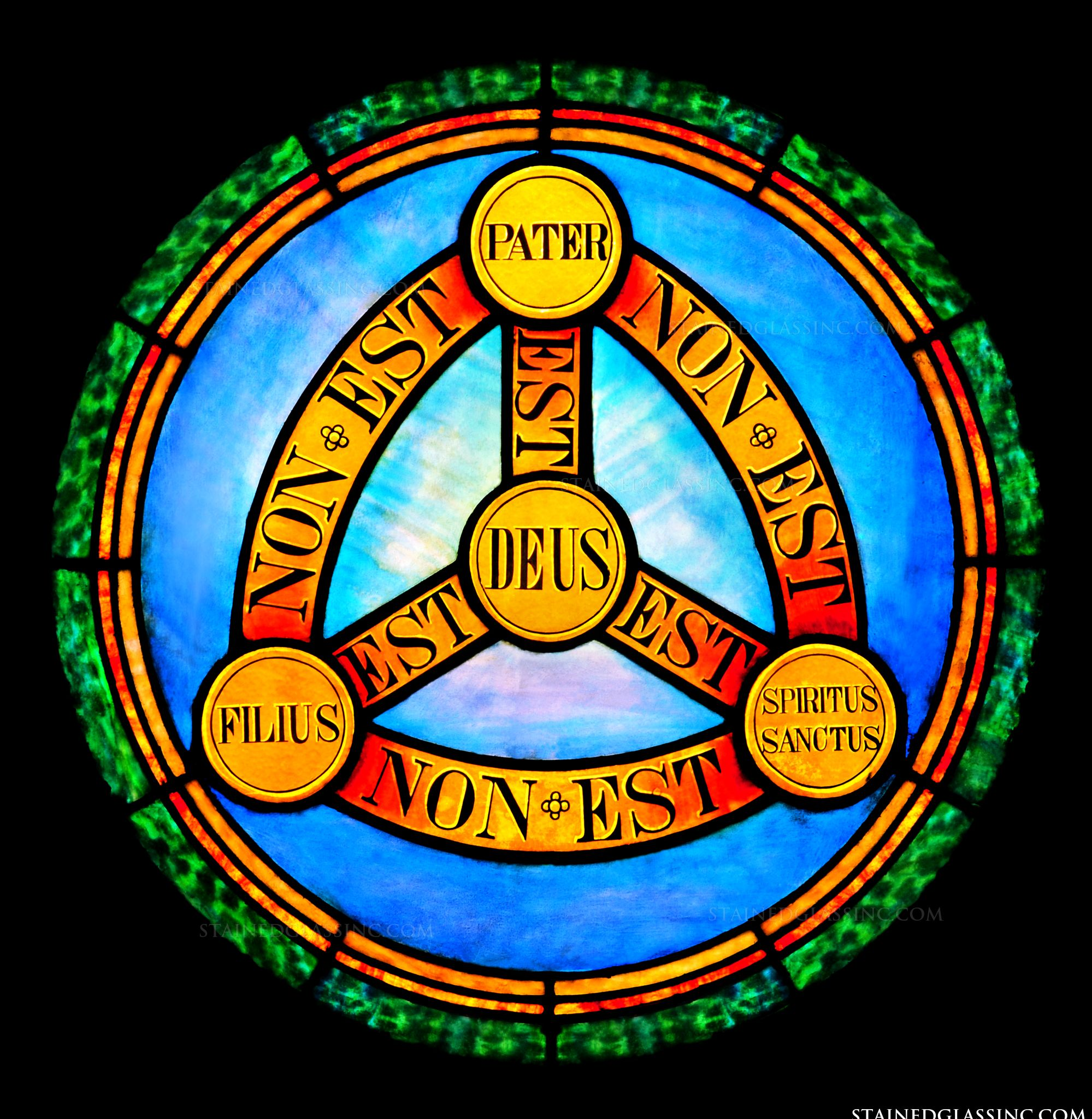 Stained glass of the Holy Trinity symbol
