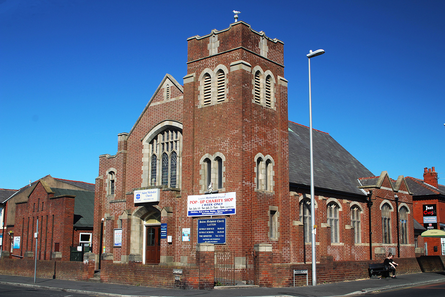 Photograph of Layton Methodist Church, taken from Talbot Road